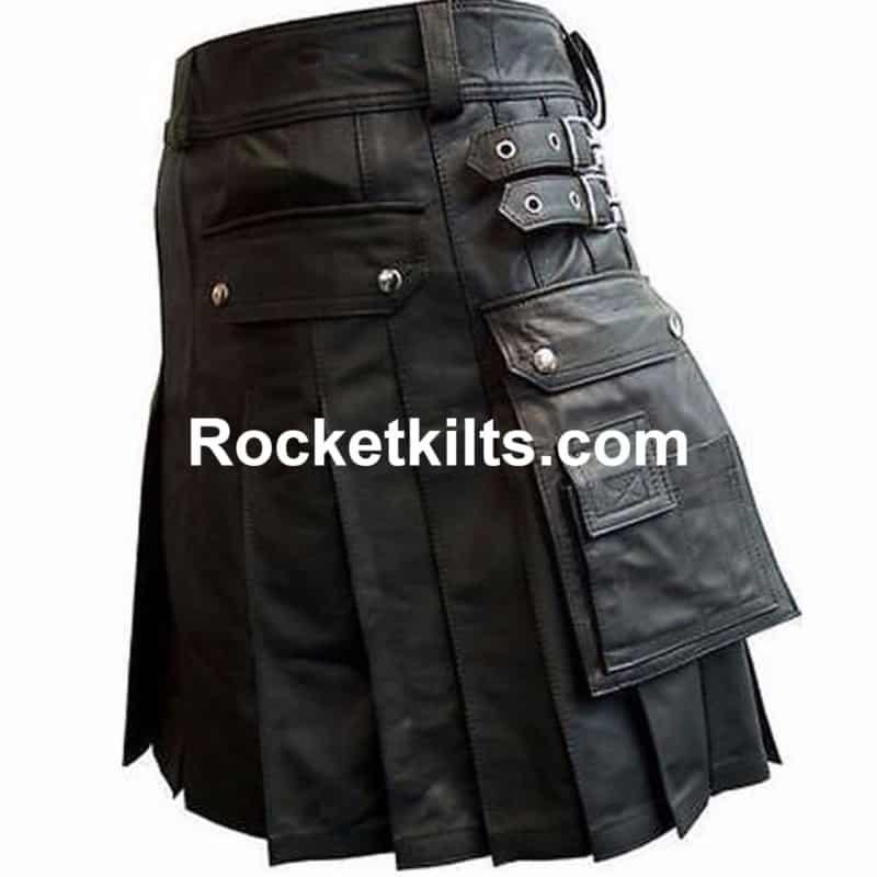 Mens Real Leather Black Utility Cargo Kilt     Choice of Length /& Sizes