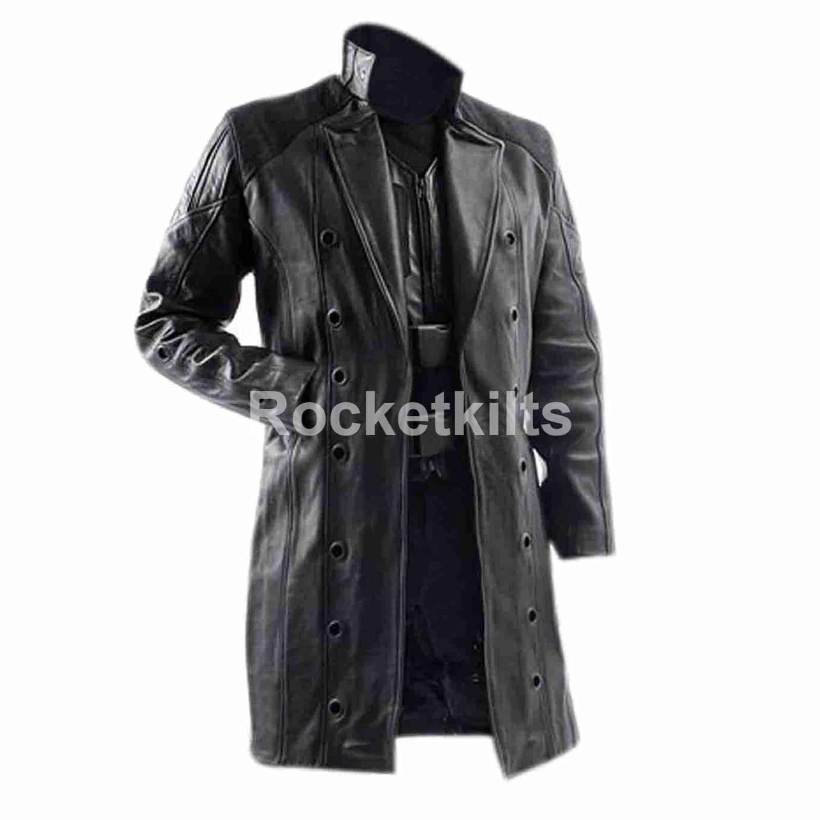 where can i buy free shipping elegant shape Men's Black Adam Jensen Deus Ex Human Leather Trench Coat