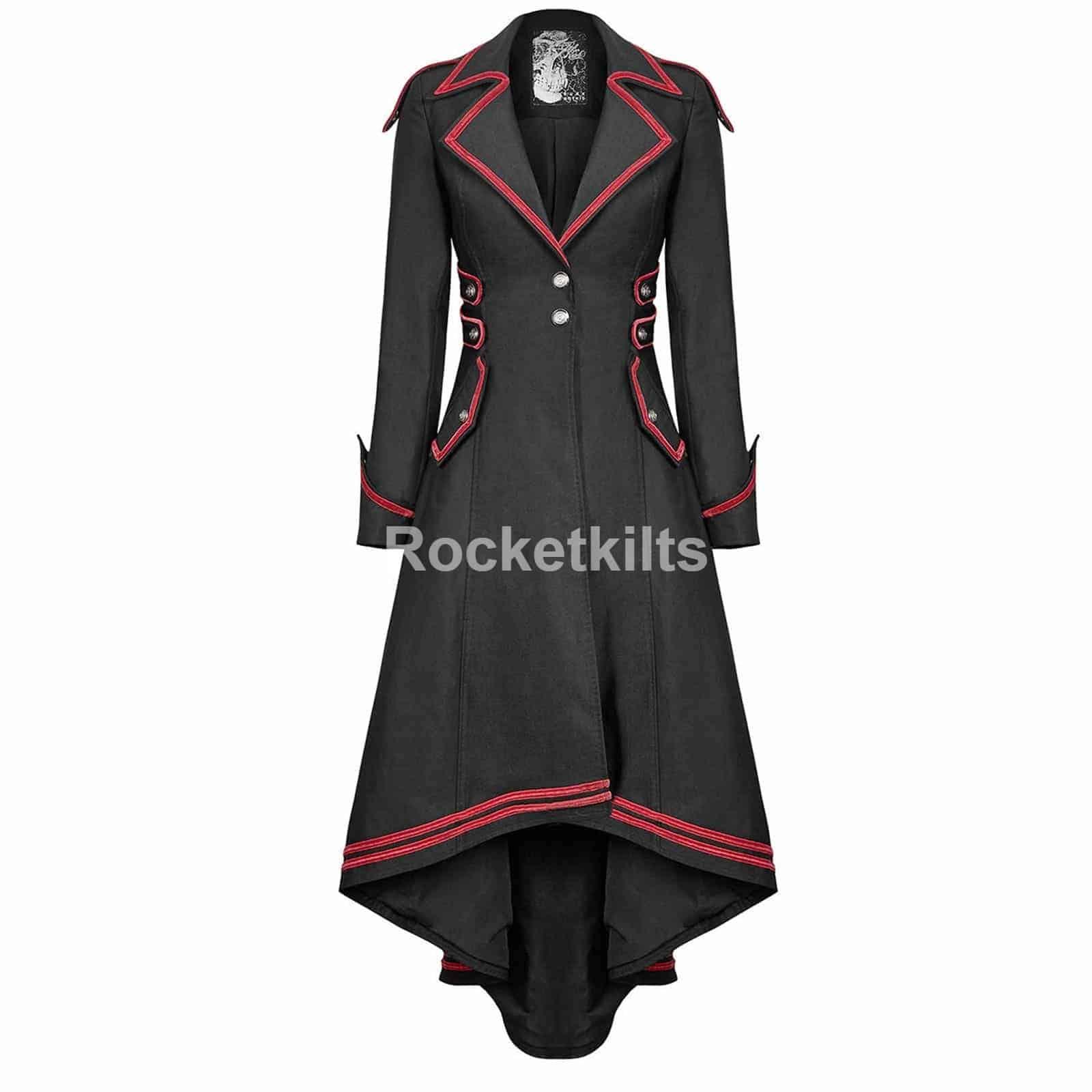 59c922e9c Punk Rave Womens Steampunk Military Coat Long Black Jacket
