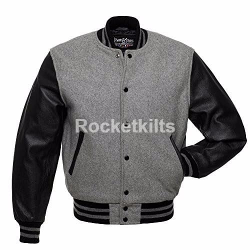 Genuine blue Leather Sleeve Letterman College Varsity Men black Wool Jacket