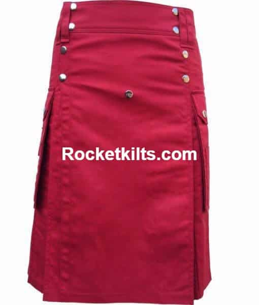 red kilts,Modern kilt,Scottish Kilts with Drilled Cotton, Cotton Kilt, Kilt for Men,men's utility kilt,utility kilts