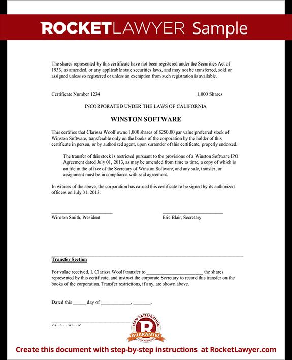 Sample Certificate Template 21 stock certificate – Example of Share Certificate