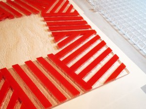 Layup of strips for fused glass bowl