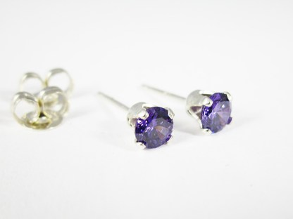 Amethyst CZ Stud Earrings