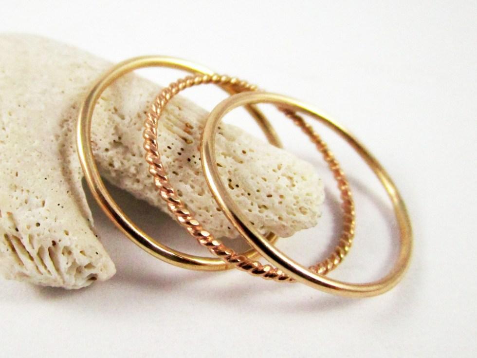 Stacker Ring Set (3) Gold Filled Plain Twist Plain