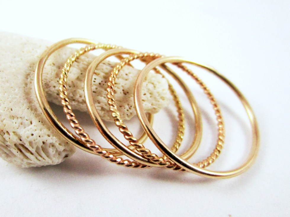 Stacker Ring Set (5) Gold Filled Alternate Plain Twist