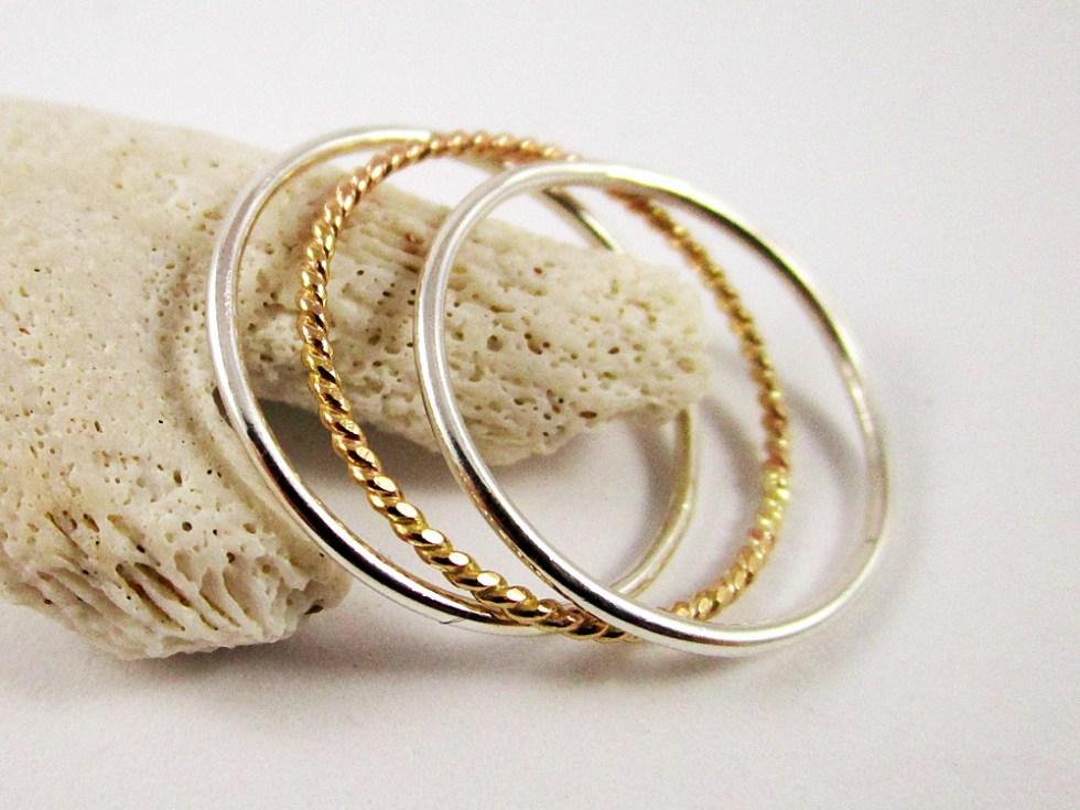 Stacker Ring Set (3) Silver Gold Filled Plain Twist