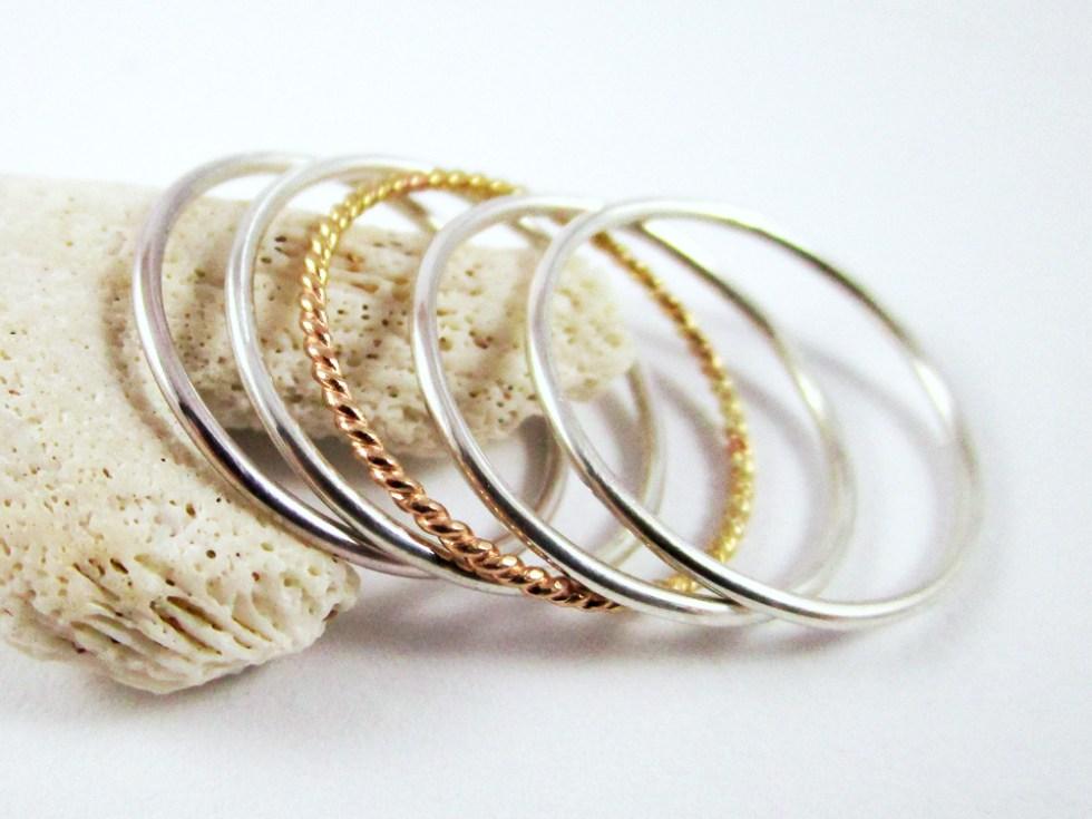 Stacker Ring Set (5) Silver Gold Filled Plain Plain Twist