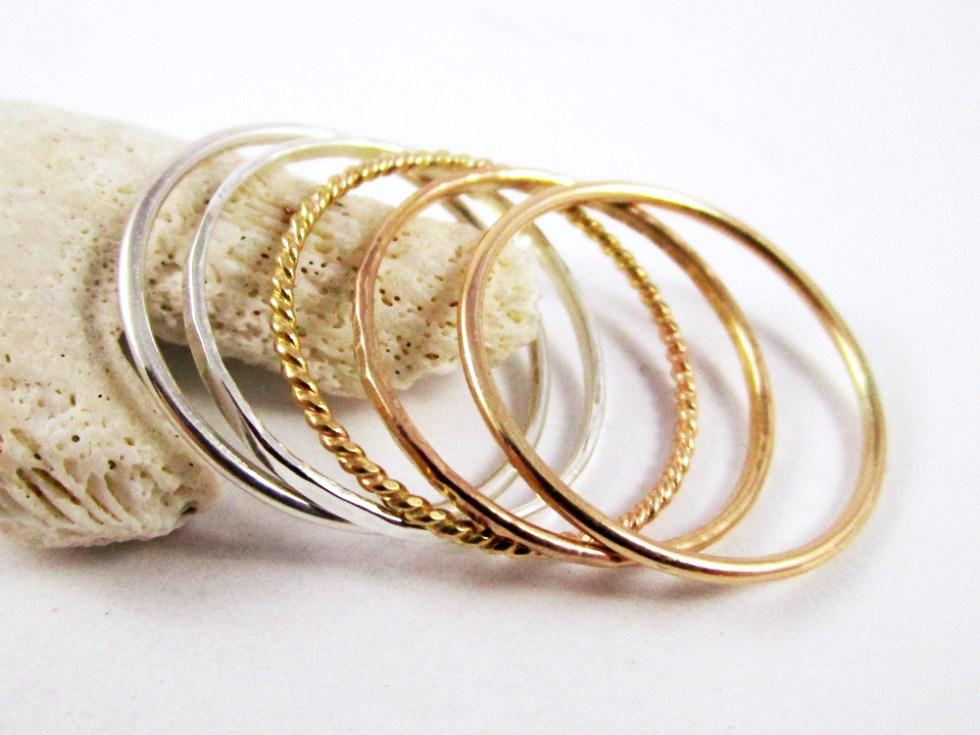Stacker Ring Set (5) Silver Gold Filled Plain Hammered Twist