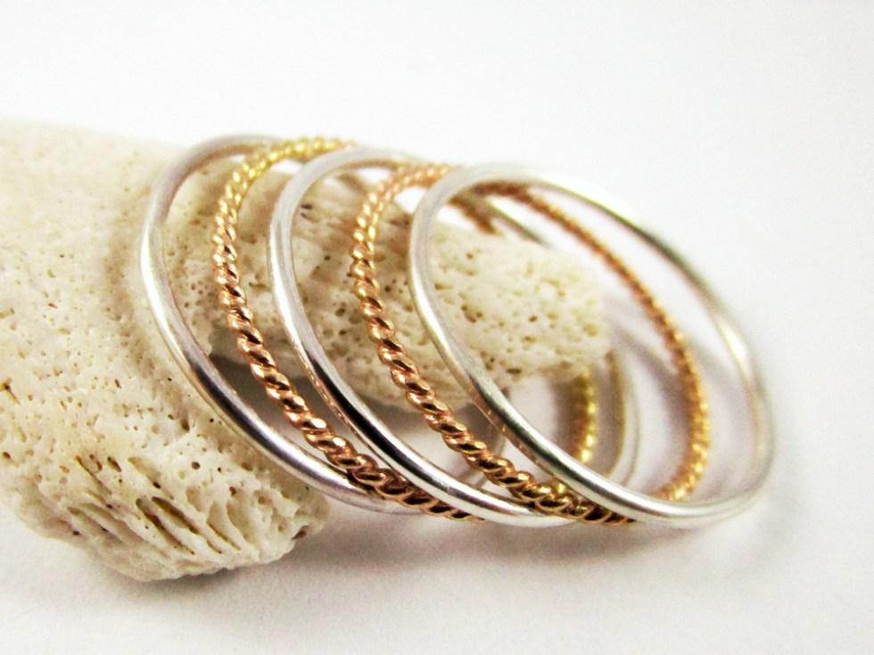 Stacker Ring Set (5) Silver Gold Filled Plain Twist Plain