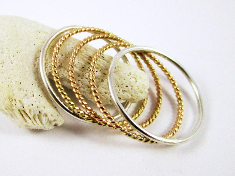 Stacker Ring Set (5) Silver Gold Filled Plain Twist Twist