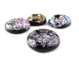 Pink Dichroic Cabochons