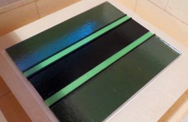 Fused glass platter layup