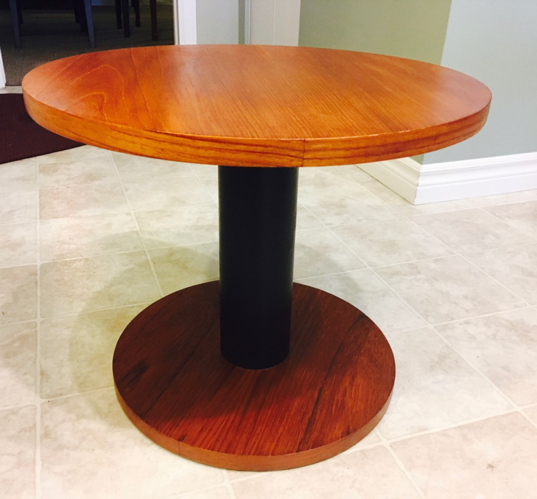 refinished teak end table by rs associates