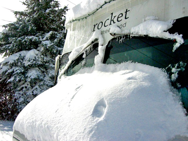 rocket in snow