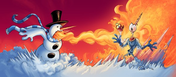Frosty the Snowman and Earthworm Jim having fun