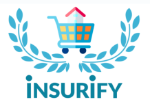 Insurify Logo - a house in a shopping cart surrounded by olive-type branches