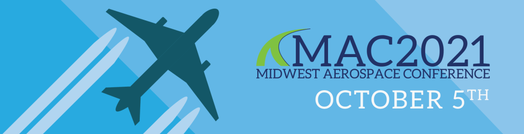 MAC2021 Logo with Airplane on a gradient blue background