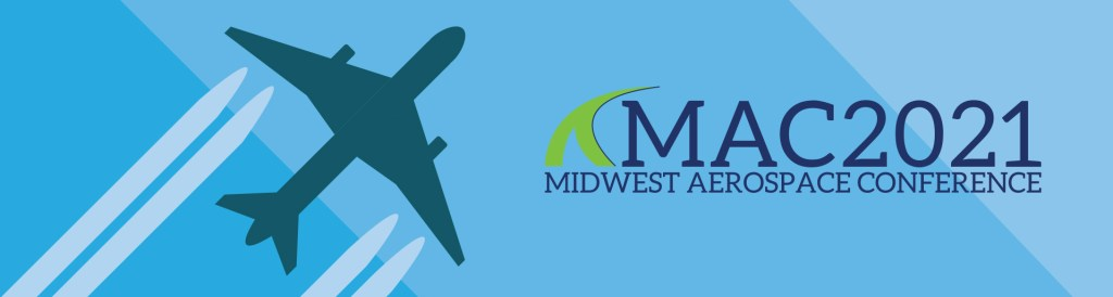 MAC2021 No Date Header with Plane and Contrails on a gradient blue background