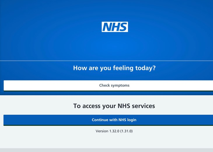 NHS App login screen