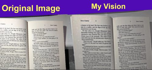Left image: Original image - picture of book pages. Right image: My vision - picture of book pages blurred
