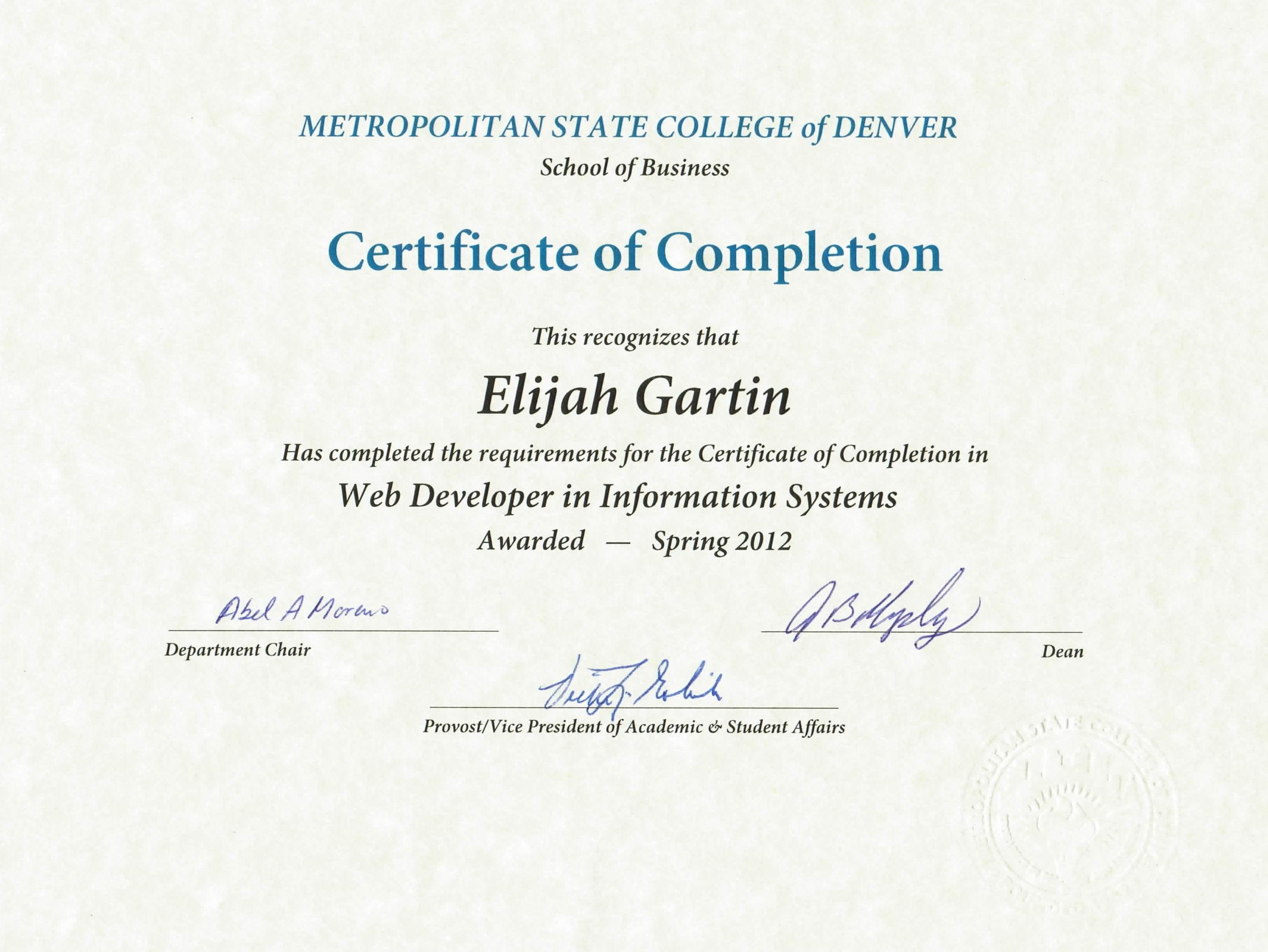 Certificates And Diplomas Elijah Rock Gartin