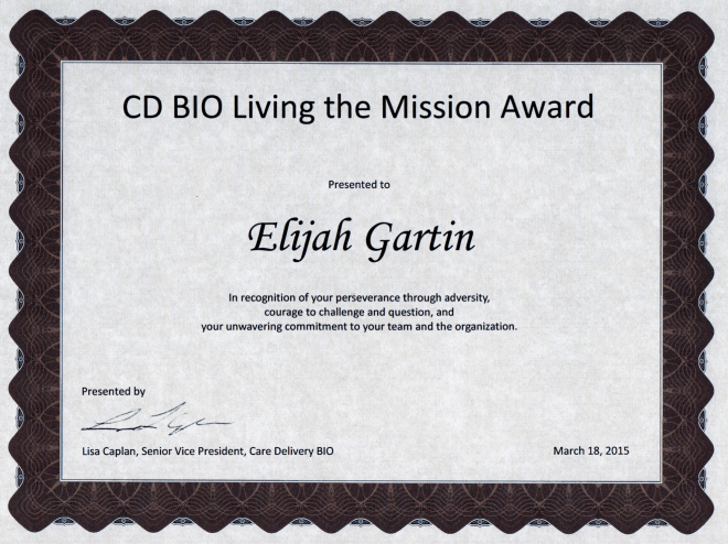 Elijah Gartin Living the Mission Award Recipient 2014 Kaiser Permanente CD BIO