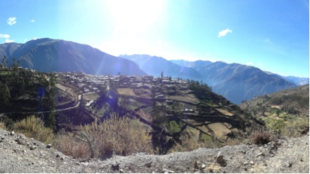 View of village in the middle of the mountains
