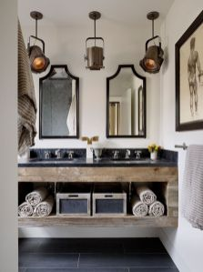 Rustic farmhouse style bathroom design ideas 54