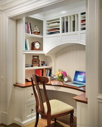 Awesome Built In Cabinet and Desk for Home Office Inspirations 49