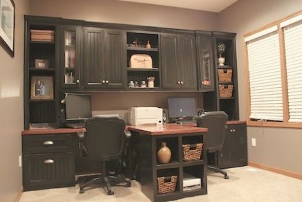 Awesome Built In Cabinet and Desk for Home Office Inspirations 55