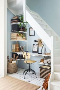 Awesome Cool Ideas To Make Work Space Room Under Stairs 12