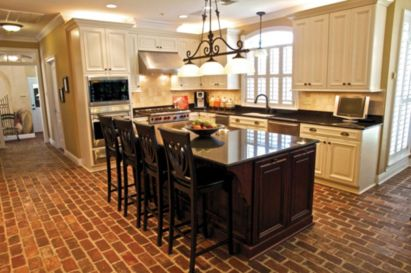Amazing Brick Floor Kitchen Design Inspirations 24