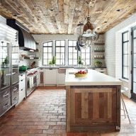 Amazing Brick Floor Kitchen Design Inspirations 34