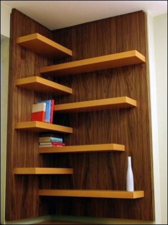 Corner Wall Shelves Design Ideas for Living Room 48