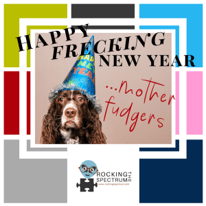 happy new year mother fudgers. Picture shows tired dog with funny hat. Rocking the Spectrum logo bottom center.