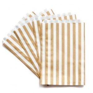 Gold Stripe Paper Bags (20 pieces)