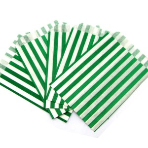 Green Stripe Paper Bags (20 pieces)