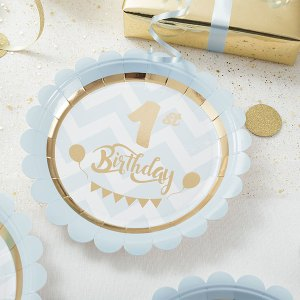 1st Birthday Blue Plates 18 cm (8 pieces)