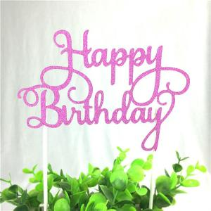 "Pink ""Happy Birthday"" Cake Topper"