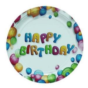 Happy Birthday Plates 23cm (6 pieces)