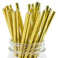 10 Gold paper straws