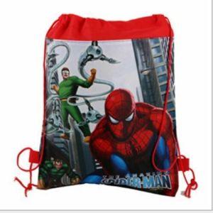Spiderman red Drawstring Bag