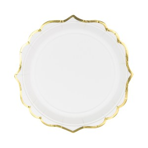 Plates White/Gold detailed 18.5cm (6 pieces)