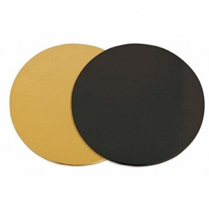 Black/Gold DOUBLE SIDED Round Cake Board (25 cm) – Thin