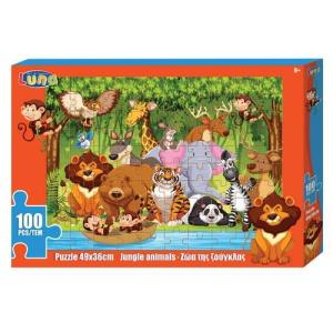 PUZZLE 100PCS 49X36CM Jungle Animals