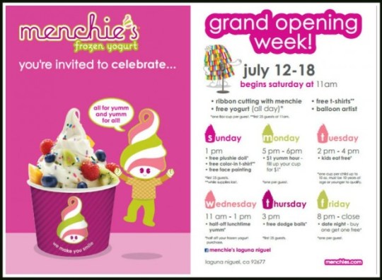 Menchie's Frozen Yogurt Events