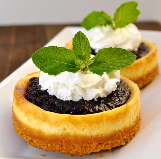 Mini Boysenberry Sour Cream Cheesecakes