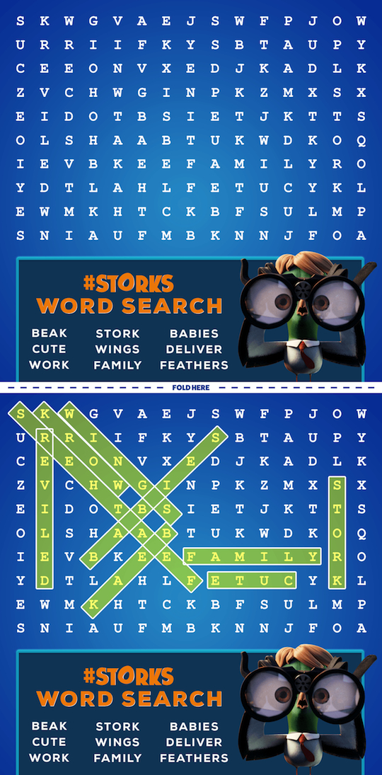 Storks Movie Printables Word Search