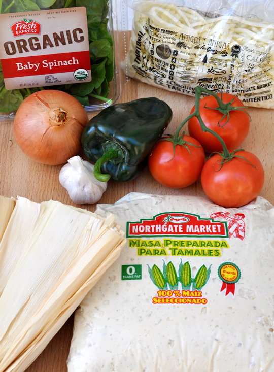 Spinach and Cheese Tamale Ingredients